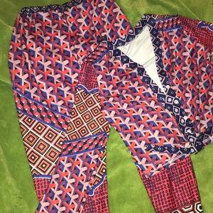 2 Piece Long Sleeve Crop Top & Pants Set